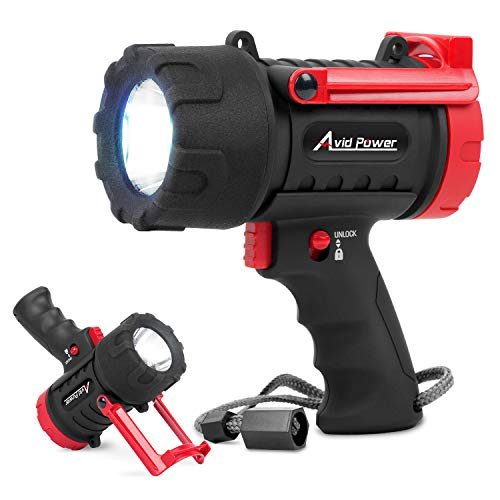Avid Power Spotlight USB Rechargeable Handheld Spot Light with 900 Lumen LED, USB Cable, Waterproof Lightweight and Portable
