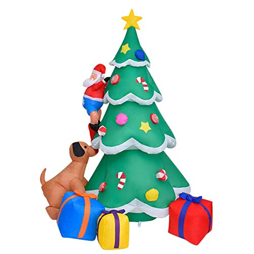 brightsen 7 Foot Christmas Inflatable Tree Outdoor Decorations Santa Claus Bitten By Puppy Funny Cute Christmas Blow Up With Light For Outdoor Lawn Yard Decoration