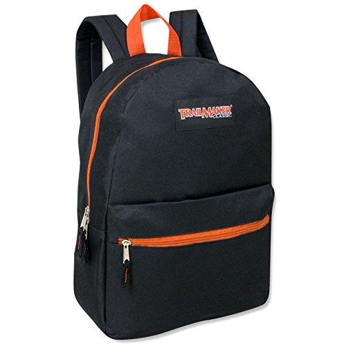 """17"""" Trailmaker Backpack Bookbag - Orange Zipper"""