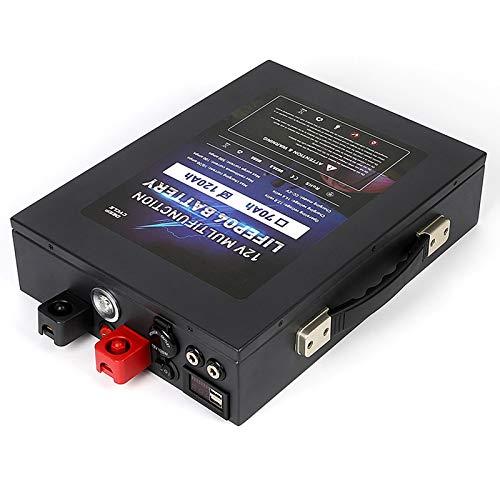 Qingmei 12V 120A Batería LiFePo4 Paquete De Baterías De Fosfato De Hierro Y Litio De Gran Capacidad con Carcasa De Metal/Iluminación LED y Puerto USB