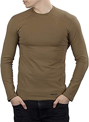 281Z Mens Military Stretch Cotton Long Sleeve T-Shirt - Tactical Hiking Outdoor Undershirt - Punisher Combat Line (Coyote Brown, Large)