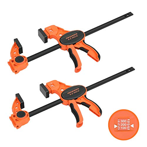 Jorgensen 12' Bar Clamps Set for Woodworking, with Load Limit Indicator, One-Handed Spreader, E-Z Hold F Clamp, Medium Duty 300 lbs Load Limit, 2-pack