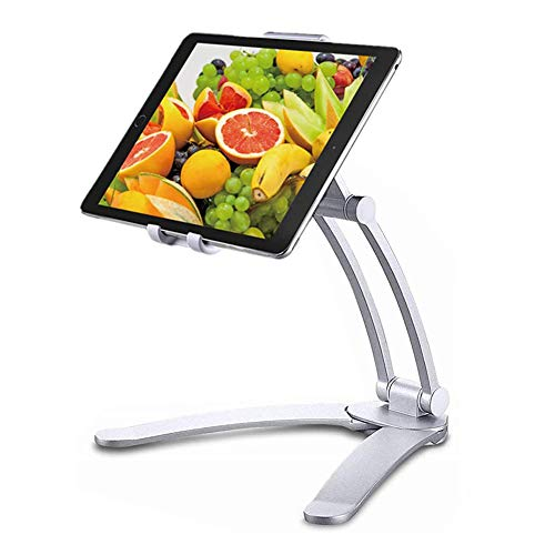 Tablet Stand 2-in-1 Ipad Kitchen Wall Mount/Under Cabinet Holder - Perfect for Recipe Reading on Countertop Or Using on Office Desktop - Fits Ipad iPhone Devices from 4.8' to 7.5' Wide