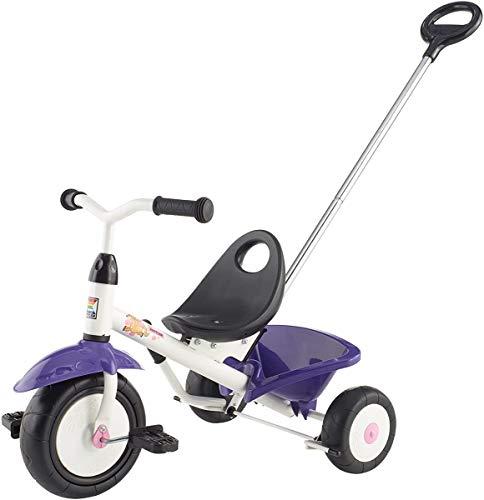 Kettler Funtrike Pablo - das coole Dreirad mit Schiebestange - Kinderdreirad für Kinder ab 2 Jahren - stabiles Kinderfahrzeug inkl. kippbarer Sandschale - weiß & lila