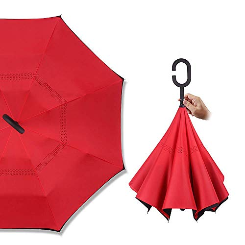 Mitrc Reverse Inverted Auto Open Umbrella Anti-Upside Down-Leichtgewicht mit C-förmigem Griff Windproof Sun Folding Convenient Purple,2