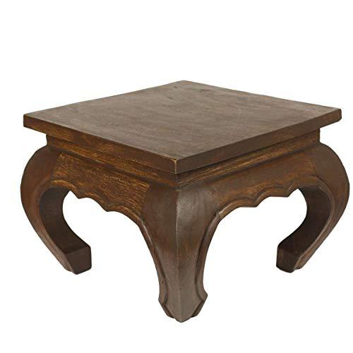 Oriental Galerie Opiumtisch Opium Tisch Beistelltisch Massiv Holz Couchtisch Nachttisch Hocker, Farbe:Dunkelbraun, Größe:30x30x24cm (LxBxH)