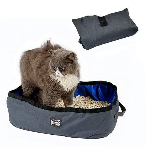 Petneces Katzentoilette Faltbare Tragbare wasserdichte Katzentoiletten für die Reise im Freien Katzenklo (Grau und Blau)
