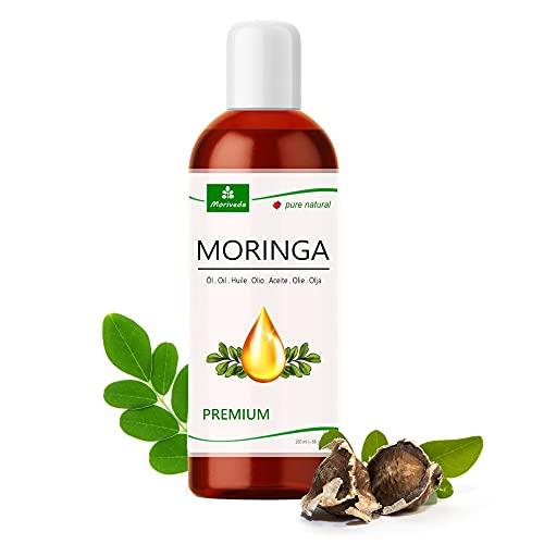 MoriVeda® Moringa Oil, 100 ml, olio di Moringa spremuto a freddo dai semi di Moringa, come olio commestibile, olio per massaggi, olio per capelli, olio per barba e cura della pelle