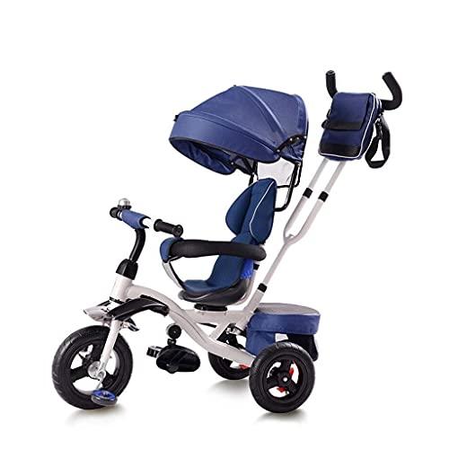 New Baby Push Trike, triciclo, triciclo 4 en 1 multifunción plegable fácil con asiento giratorio, diseño de asiento bidireccional, triciclo para bebé al aire libre, 3 colores, 110 * 105 * 50 cm (Colo