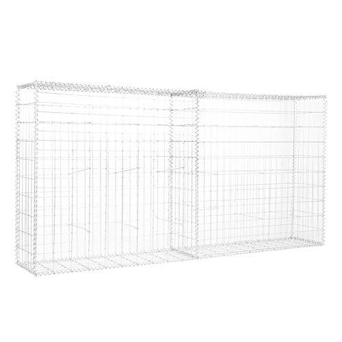 Zerone Steingabione,Garten Gabion Netz Gabione Gabionenkorb Gabionenzaun verzinkter Stahl 200 x 100 x 30 cm Silber