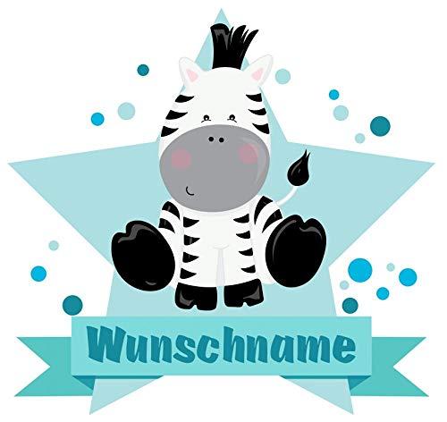 Samunshi® Zebra Wandtattoo Türschild mit Name personalisierbar Kinderzimmer Türaufkleber Baby Wandaufkleber in 9 Größen (25x22cm Mehrfarbig)