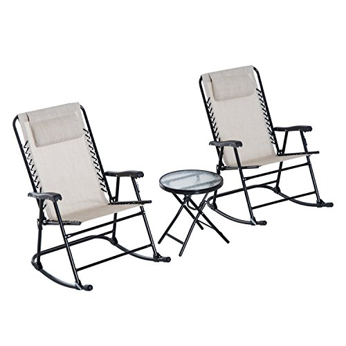 Outsunny 3 Piece Outdoor Rocking Bistro Set, Patio Folding Chair Table Set,...