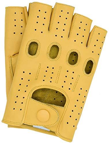 Riparo Women's Fingerless Half Finger Driving Motorcycle Unlined Leather Gloves (6, Camel)