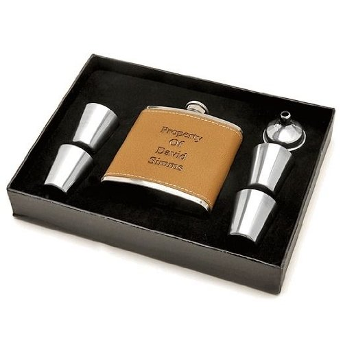 Personalized Flask Set with Shot Cups and Funnel - Free Engraving