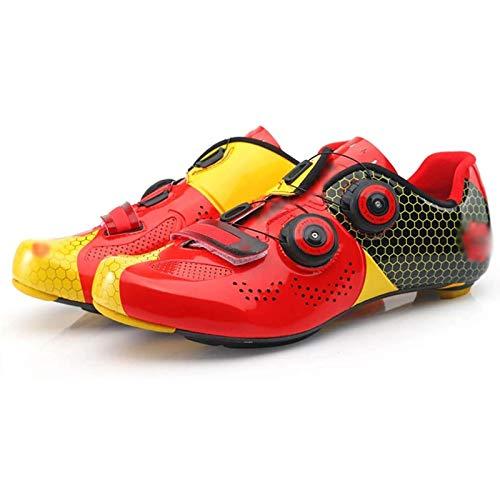 WDZJM Zapatillas de Ciclismo, Zapatillas de Ciclismo con Fondo de Fibra de Carbono Transpirables y ultraligeras Profesionales para Exteriores, Masculinas y Femeninas, (Color : Red, Size : 40)