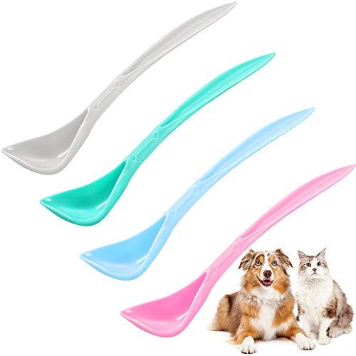 4 Cucharas de Lata de Comida para Mascotas Cucharas de Lata de Perro Gato Cucharas de Perros con Mango Largo con Diseño Curvo de Plástico Cucharas para Mezclar Alimentos para Mascotas