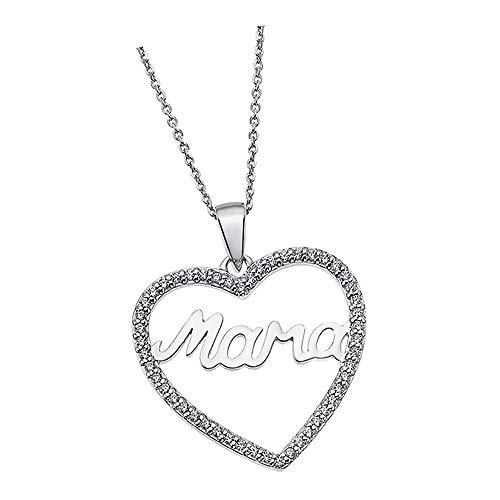 Lotus Silver Collar con colgante de corazón de Mama LP1813-1/1, circonita 925, plata JLP1813-1-1