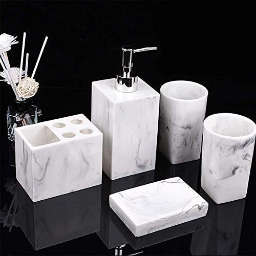 XXSHN LWSJP Juego de Accesorios de baño de Resina Copa de Enjuague bucal Soporte para Cepillo de Dientes Botella de champú Juego de Lavado doméstico (Color: Blanco, Tamaño: Gratis)