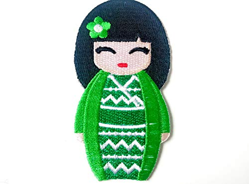 Green Color Japanese Kokeshi Doll Japan Vintage Cute Girl Jacket T-Shirt Sew Iron on Embroidered Applique Badge Sign Patch