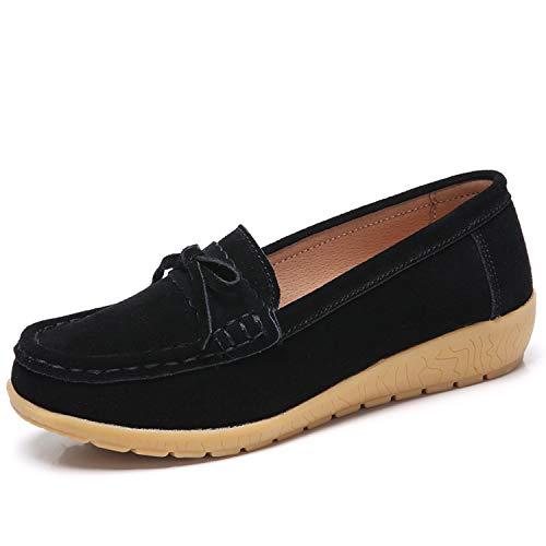 [Vocnako] レディース安全靴 ナースシューズ ウォーキングシューズ ダイエットシューズ 看護師 介護士 本革 厚底靴 履きやすい 疲れにくい 女性 用 作業靴 軽量 スニーカー 通勤 通学 ブラック 23.0cm