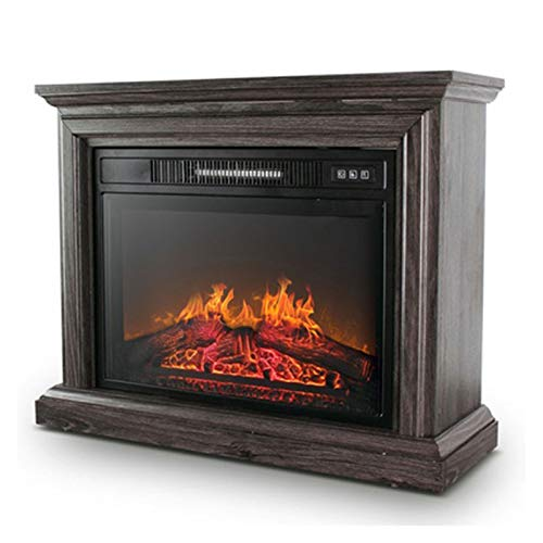 ZXCVBNM Wall Mounted Electric Fire Electric Fireplace, Realistic Flame Effects, Electric Fireplace Stove Heater Electric Fireplace Suite (Color : Dark Wood Grain~no Need to Assemble)