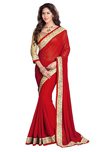 Mirchi Fashion Zari Bordüre Faux Georgette Traditioneller indischer Bollywood Designer Sari für Frauen Gr. One size, rot