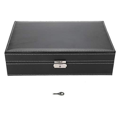 Caja de almacenamiento para relojes de mujer, 8 ranuras para relojes con piel sintética, organizador de joyas, con espejo, 30 x 21 x 7,9 cm