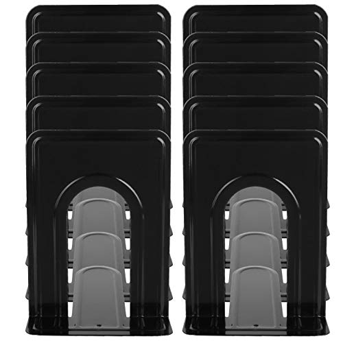 ZIQI 20PCS Black Bookends 6.5 x 5 x 5.75 Inches Metal L-Shaped Book Ends for Book Shelves, Office, 10 Pair/20 Piece Nonskid Heavy-Duty Bookends Universal Book Supports Movies CDs Video Games Magazines