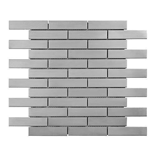 Modket TDH251SS-10 Brushed Nickle Stainless Steel Brick Joint — 10 Pack Modern Mosaic Tile Backsplash Kitchen Bath Bathroom Shower Interior Wall