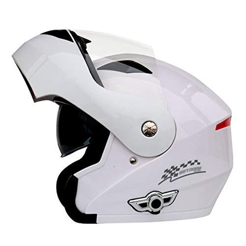 Cascos de motocicleta, cascos de bicicleta, antivaho de doble lente Bluetooth Casco de motocicleta Bluetooth Casco Con Diseño Integrado Casco Bluetooth 3000 MAh Blanco-B-L