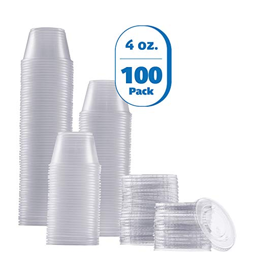 Zeml Portion Cups with Lids (4 Ounces, 100 Pack) | Disposable Plastic Cups for Meal Prep, Portion Control, Salad Dressing, Jello Shots, Slime & Medicine | Premium Small Plastic Condiment Container
