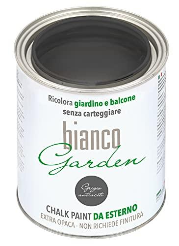 Chalk Paint - Pintura especial para exteriores gris antracita - BlancoGarden - Recolora jardín y balcón sin cartear y sin acabado (1 litro)