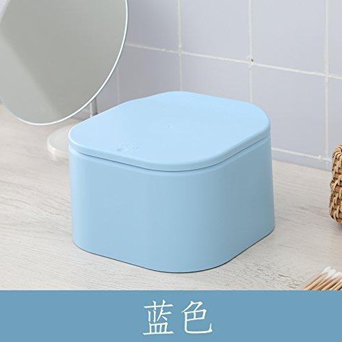 Xiuxiutian Bacs à ordures extérieurs La Couverture d'éjection en Plastique Poubelle de Bureau Bureau 18.9 * 18.9 * 11cm, Bleu Chambre Salon