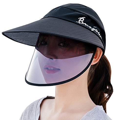EOZY Visière Chapeau Soleil Femme Homme Sport Outdoor Tennis Golf Casquette Protection Écran Facial Anti-Poussière Transparente (Noir Lettre Broderie)