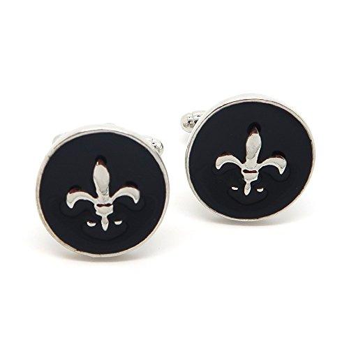 BOBIJOO Jewelry - Paire Boutons de Manchette Noir Métal Alliage Style Vintage Fleur de Lys Royal