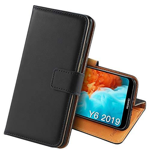 GeeRic Kompatibel Für Huawei Y6 2019 Hülle, [Standfunktion] [Kartenfach] [Magnet] [Anti-Rutsch] PU-Leder Schutzhülle Brieftasche Handyhülle Kompatibel Mit Huawei Y6 (2019) Schwarz