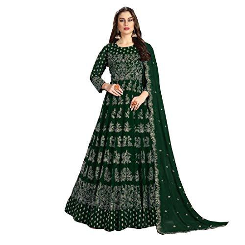 India musulmán georgette luz mujer hilo trabajo Anarkali baya traje cosido vestido 4205 - verde - Verde