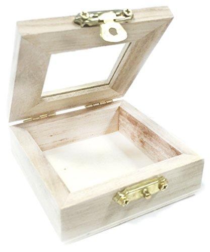Knorr Prandell 218735708 Box 7 x 7 x 2,5 cm, mit Klappdeckel und Verschluss mit Glaseinsatz 4,1 x 4,1 cm, Glas, braun