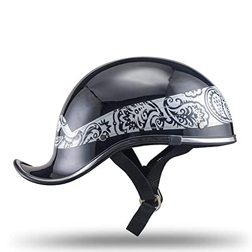 Casco de motocicleta para adultos, casco de motocicleta de cara abierta, medio casco retro, ciclomotor de scooter certificado ECE/DOT Black bandana,A