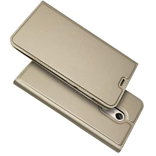 Ycloud Billetera Funda para Xiaomi Redmi 5 Plus Smartphone, PU Cuero Flip Plegable Delgado Carcasa con Soporte Función y Ranura para Tarjeta (Dorado)