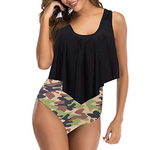 Vertvie Damen Bikini Set Neckholder Ruffles Strap Badeanzug High Waist Zweiteiler Swimsuits top + Hose Tankini Push Up Beachwear (M, Schwarz Camouflage)