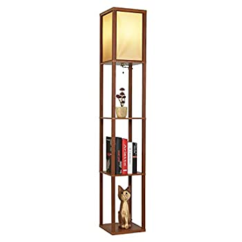 Garwarm LED Shelf Floor Lamp -Asian Wooden Frame-Tall Lights with Organizer Storage Display Shelves-Modern Standing Lamps for Living Room Bedrooms,Brown