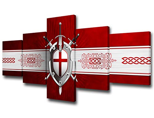 Red and White Canvas Wall Art Celtic Cross Sword Shield Prints Painting Crusade Coat of Arms Picture for Living Room Modern Home Decor Artwork Framed Ready to Hang Poster and Prints(50'Wx24''H)