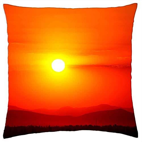 QUEMIN Throw Pillow Cover Sunset Red Solar Konya Funda de Almohada Decorativa para sofá Sofá Dormitorio Sala de Estar 45 x 45 cm