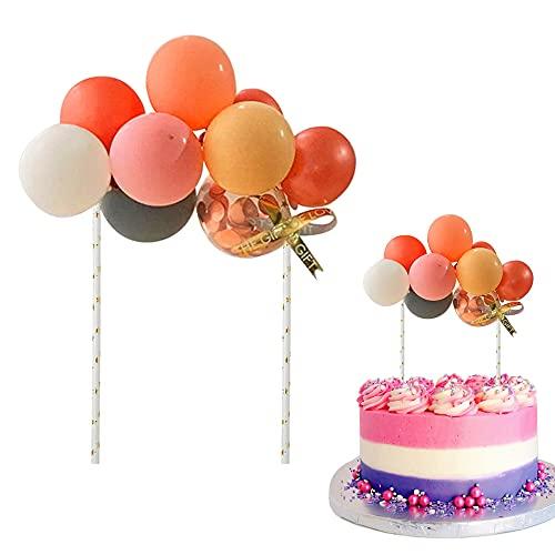 Tortendeko Ballons, Mini Ballons Cupcake Topper, Latex Konfetti Ballon Kuchen Topper, Cake Topper Deko Ballons für Torten Geburtstag Partydekoration, Babyparty (Rosa)
