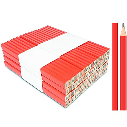 100 Pcs Carpenter Pencils (Red) Flat Premium Quality Carpenter's Pencil Octagonal Hard Woodworking Marking Lead Pencils