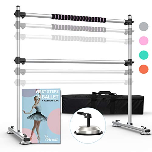 Piruett Height Adjustable Ballet Barre - Premium 4 ft Double Ballet Bar and Reinforced Anti Slip System, Ballet Barre Portable for Home Made of Steel, Carry Bag and Beginner Guide Included, Silver