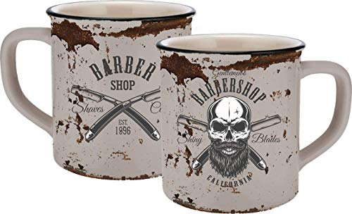 Infinite by GEDA LABELS (infkh) 13658Calavera Barber Skull esmalte aspecto de taza, cerámica Taza, Taza de café, cerámica, beige