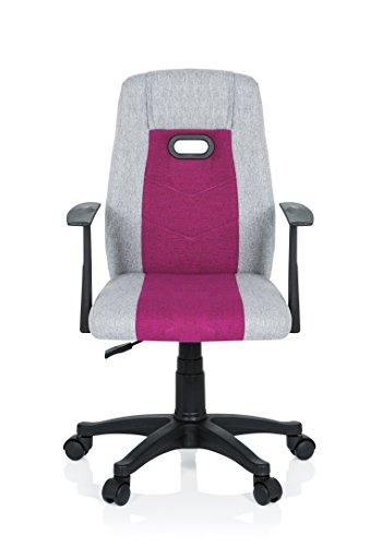 hjh OFFICE 670930 Kinder Schreibtischstuhl KIDDY EXTRA Stoff Grau-Pink Drehstuhl Ergonomisch mit Armlehne