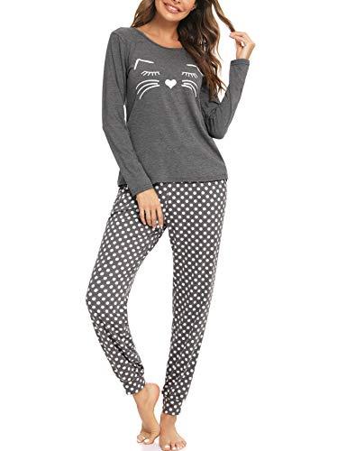 Dam bomull långärmad pyjamas set mjuka nattkläder damer katt tryckta toppar och nederdel långbyxa myskläder nattkläder